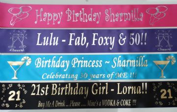 Personalised Birthday Sashes